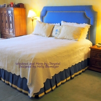Box pleated bedskirt with banding and Upholstered Headboard