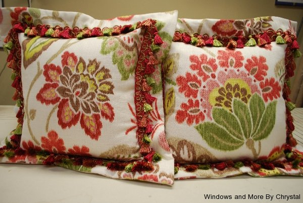 Floral Flange Edge Pillows with Fringe Trim