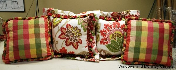Floral Flange Edge Pillows with Fringe Trim and Plaid Ruched Corded Pillows