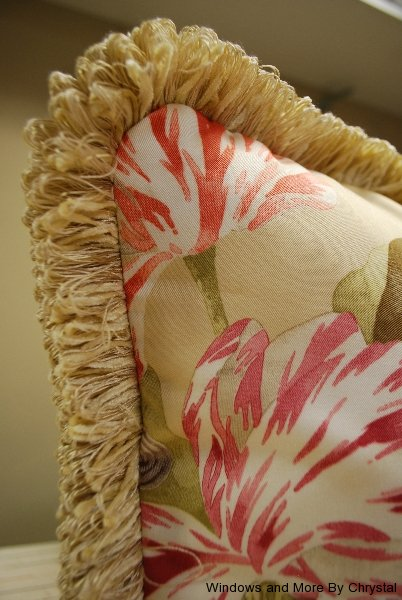 Floral Pillows with Brush Fringe Trim