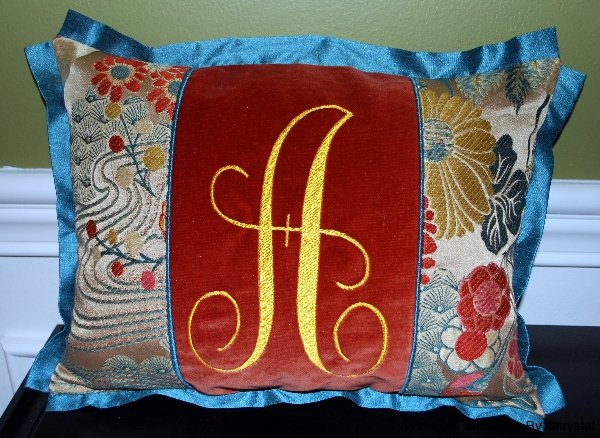 Pieced Monogram Pillow with Flange Edge