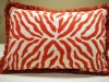 Orange Zebra Pillow with Brush Fringe Trim
