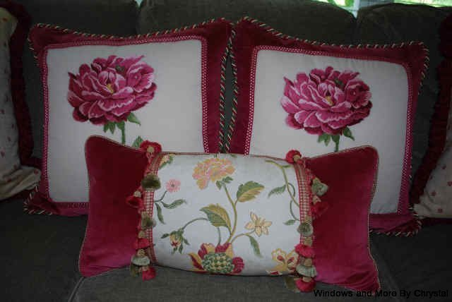 Cornice With Contrast Banding Kitchen Chair Cushions Velvet Framed Pillows Trim And A Lumbar Pillow Floral Fabric