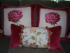 Velvet Framed Pillows with trim and a lumbar pillow with velvet, trim and floral fabric.  Designed by JCR Design Group.
