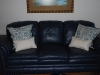 Blue and White coordinating pillows with flanges.