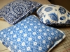 Blue Pillows, with coordinating cording around edges.