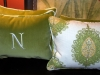 Velvet monogram pillows, with coordinating green fabric on back.