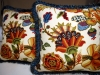 Pretty Floral Pillows with Brush Fringe.  Designed by JCR Design Group.