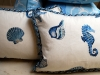 Blue Sealife Pillows with twisted cording.  Designed by JCR Design Group.