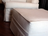 White Canvas Slipcovered Chair and Ottoman