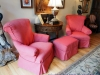Slipcovered Chairs and ottoman