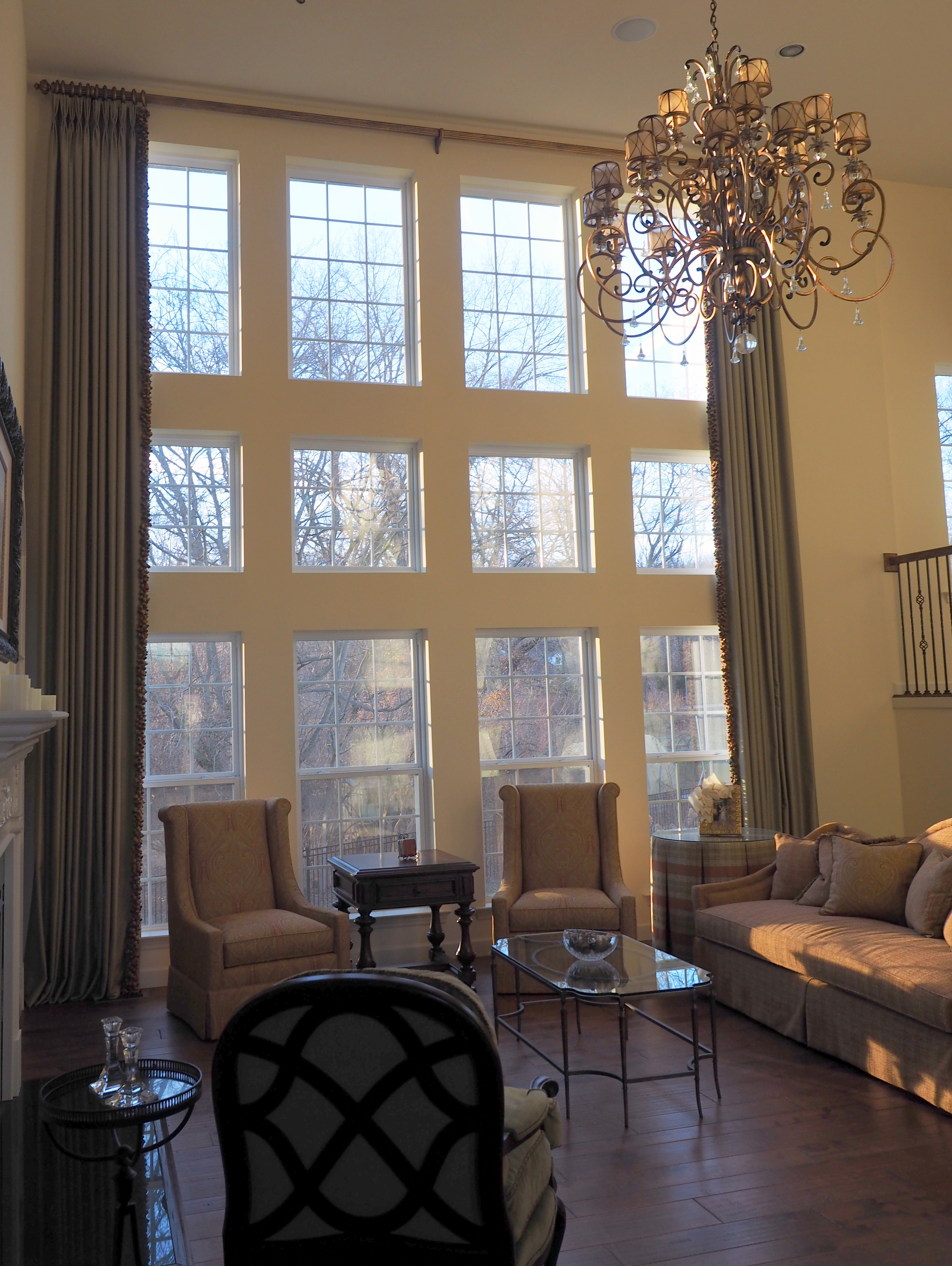 room window treatments living arch drapes tall treatment family elegant two traditional with story eclectic draperies curtains
