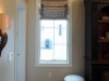 Flat Roman Shades with Mitered Trim, and Matching Valance