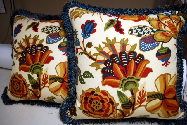Floral Pillows with Brush Fringe and blue braid trim