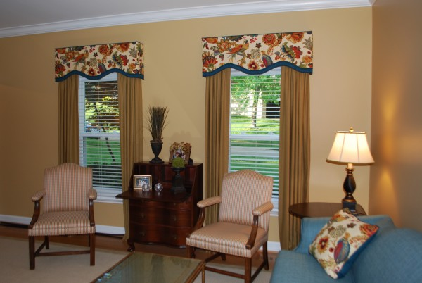 Banded Cornice, drapes, and pillows