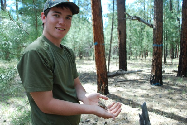 Ian with a Mountain Short Horned Lizard