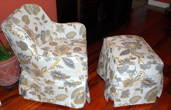 Contemporary Chair and Ottoman after slipcover
