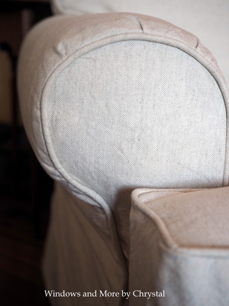 White Slipcover Chair Arm Detail