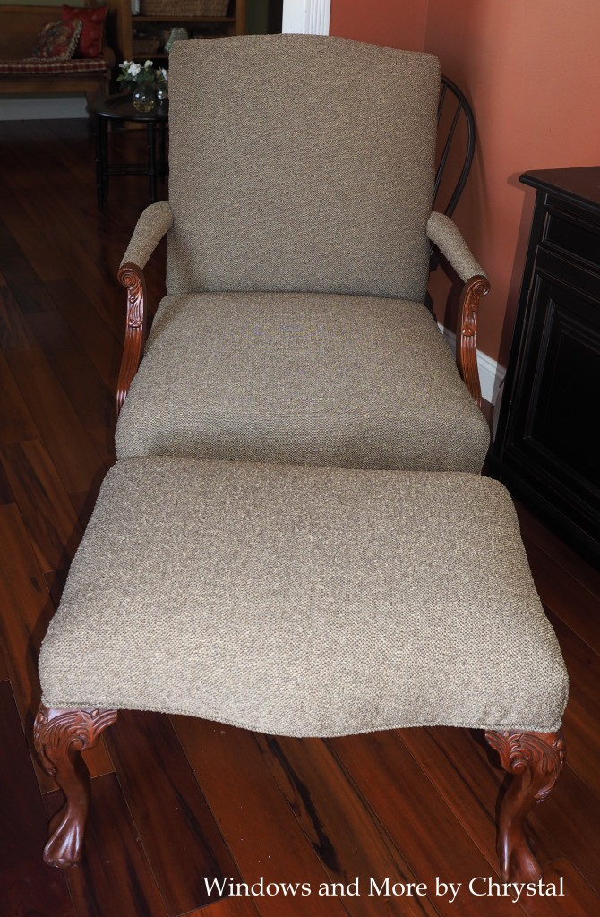 Re-upholstered Chair and Ottoman