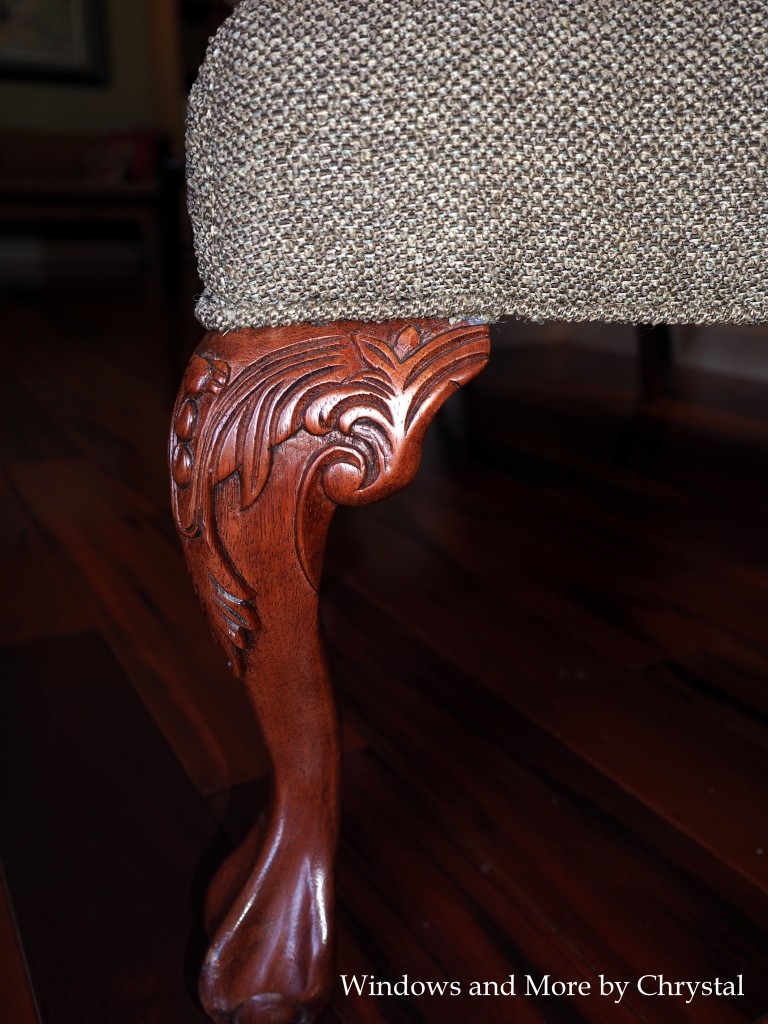 Close up of re-upholstered Ottoman
