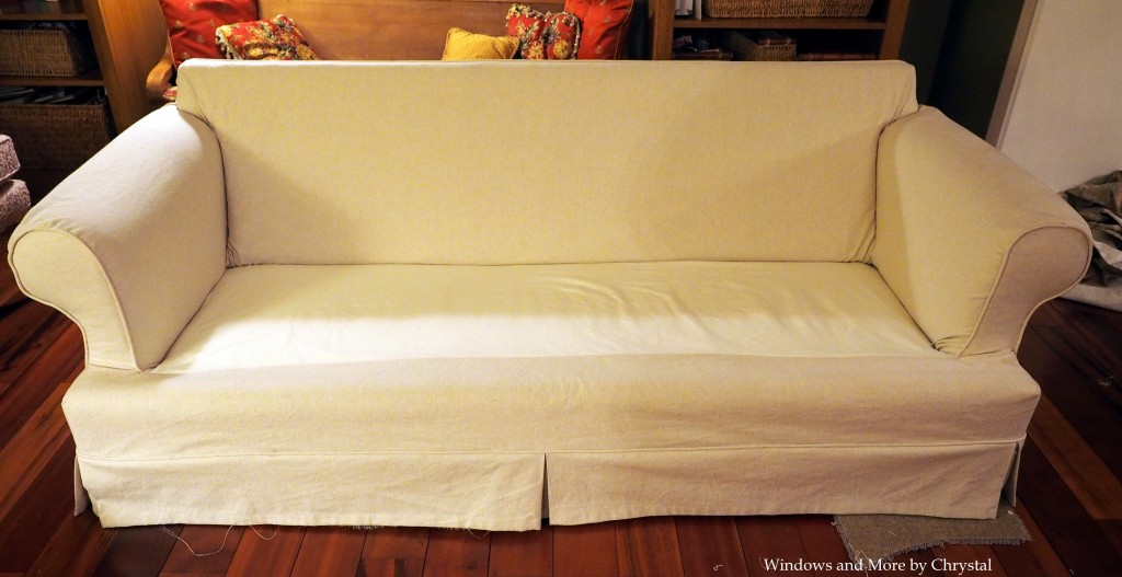White Slipcover Sofa without Cushions