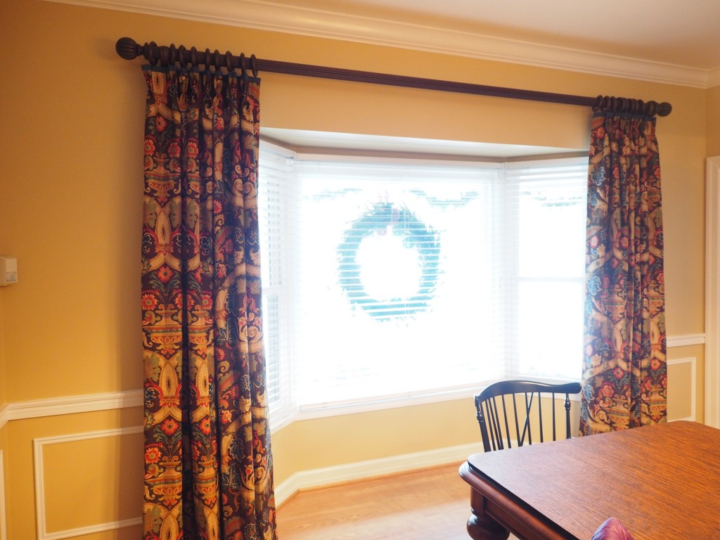 Floral Drapes with Blue Banding