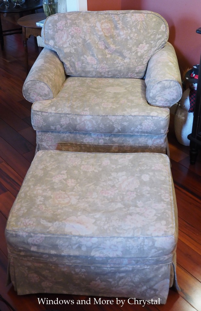 Old Floral Slipcover Chair and Ottoman