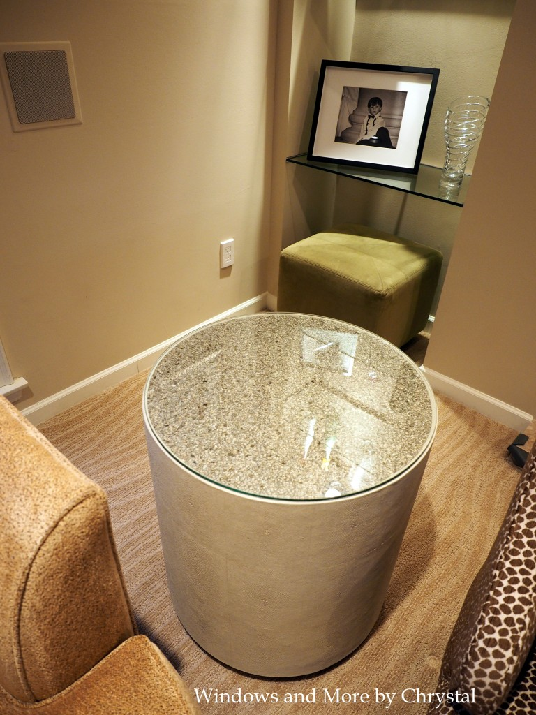 End Tables with Mica Wallpaper and glass tops