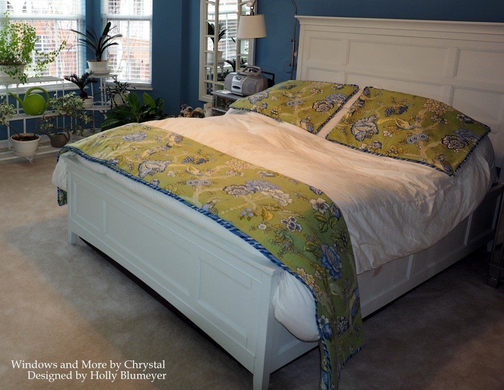 Green Waverly Floral Coverlet and Shams