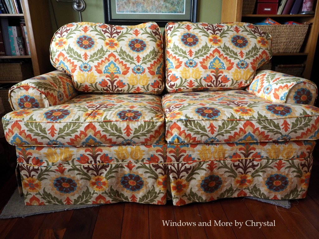Slipcover on loveseat, pattern matched