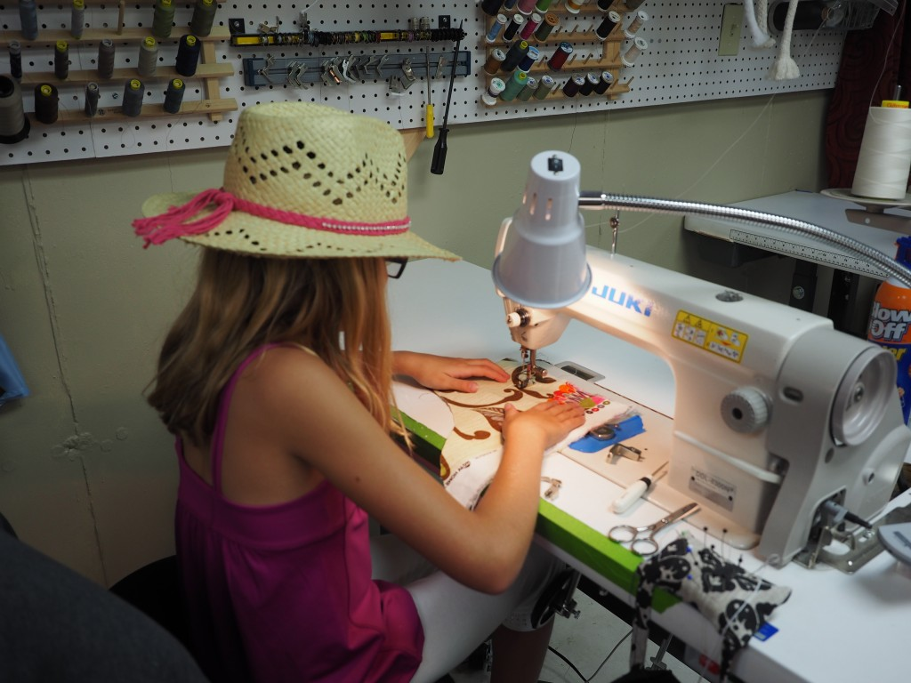 4-H'er Practicing on Industrial sewing Machine