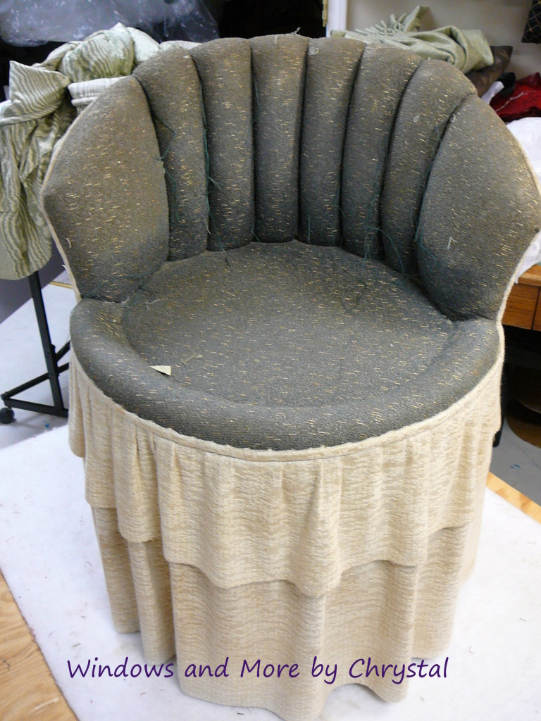 Re-upholstering a vanity chair