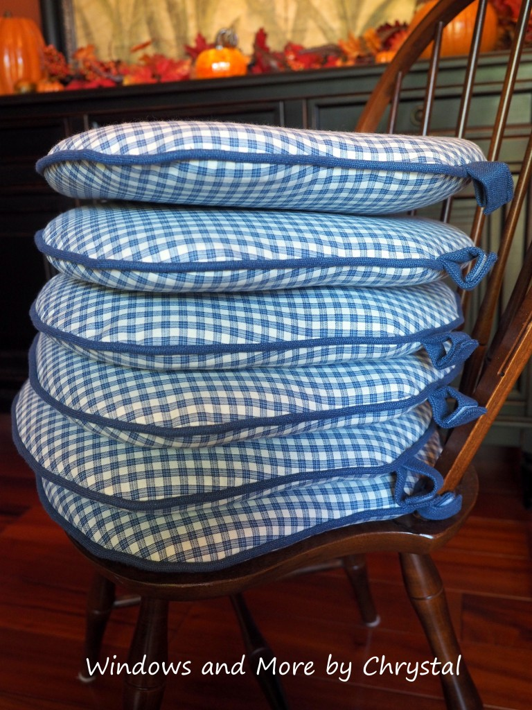 Blue checked chair pads