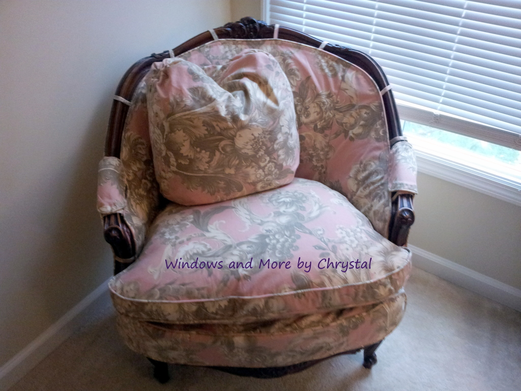 Slipcovered Chair with tabs.