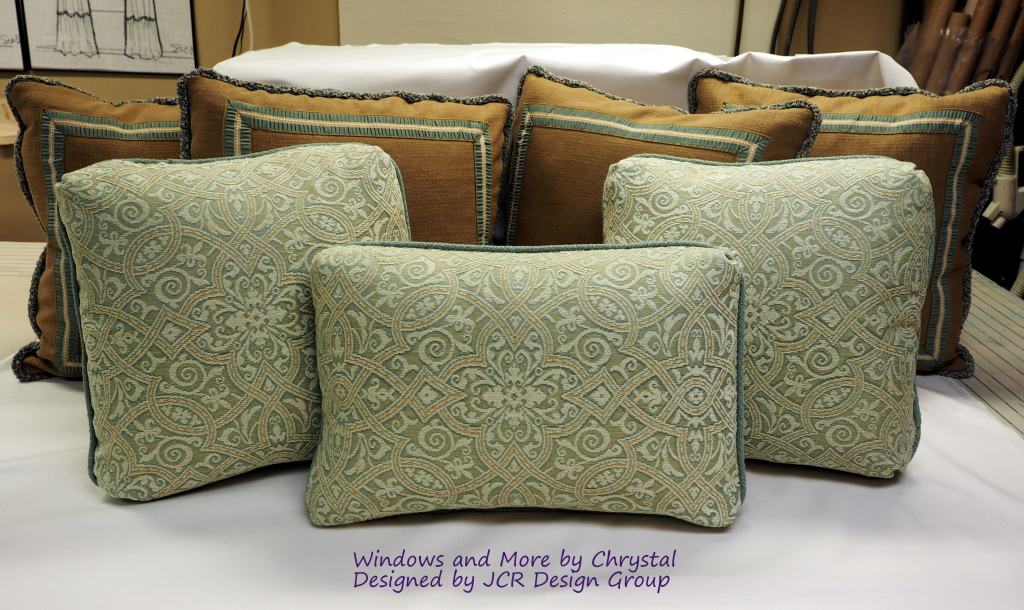 Pillows with Turkish Corners and Trim and Flat Braid