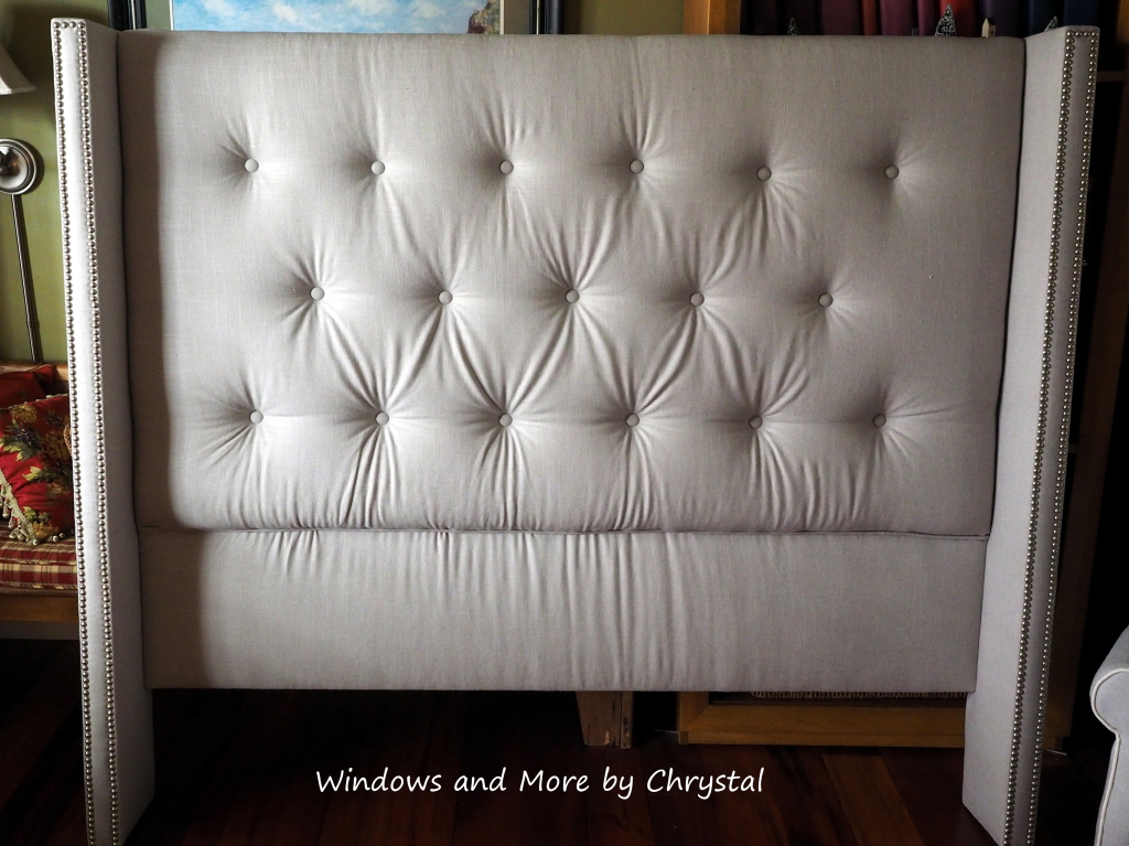 Vintage Queen Button Tufted Headboard with Nailheads on wings