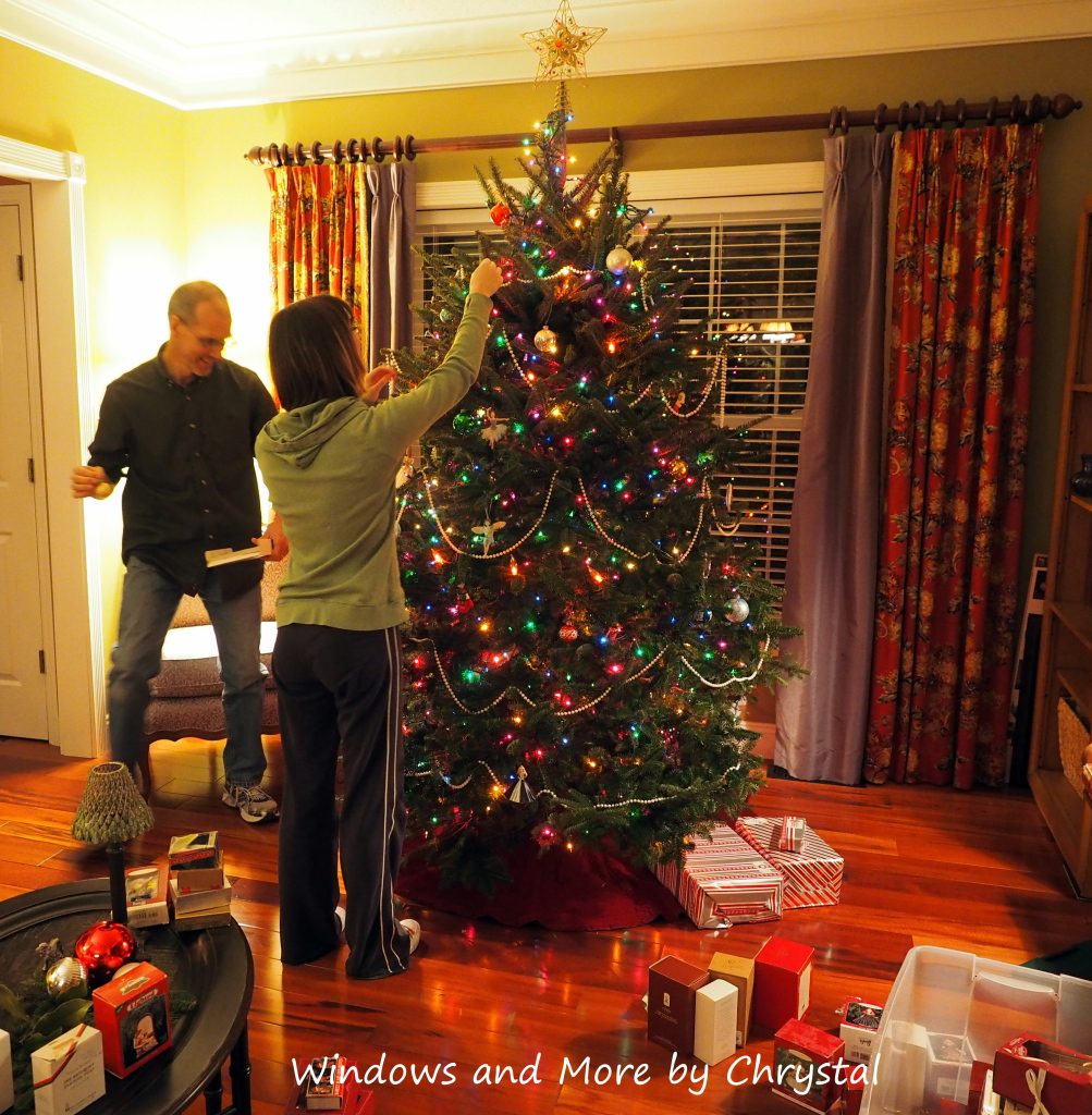 Decorating the tree.