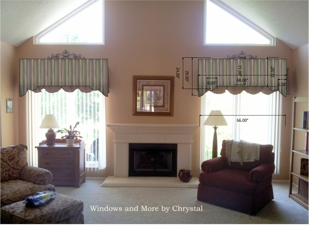 Living Room - Scalloped Cornice with Straight Middle