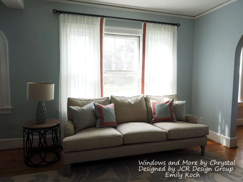Sheers with Flat Trim on leading edge and Pillows