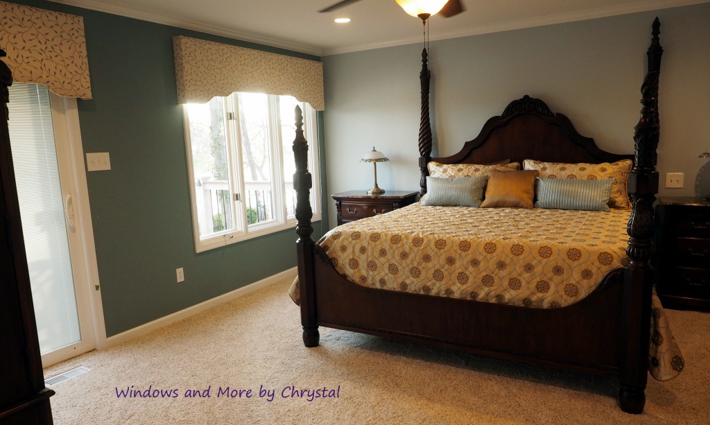 Master bedroom with cornices and bedding