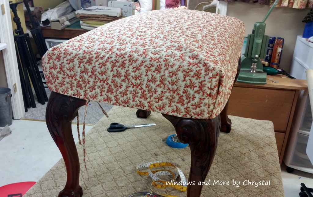 Slipcovered Ottoman during