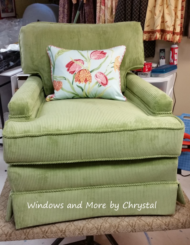 Re-upholstered Chair in Green Corduroy