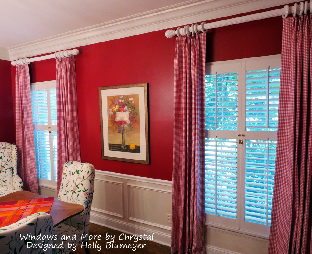 Dining Room Drapes In Pink Check
