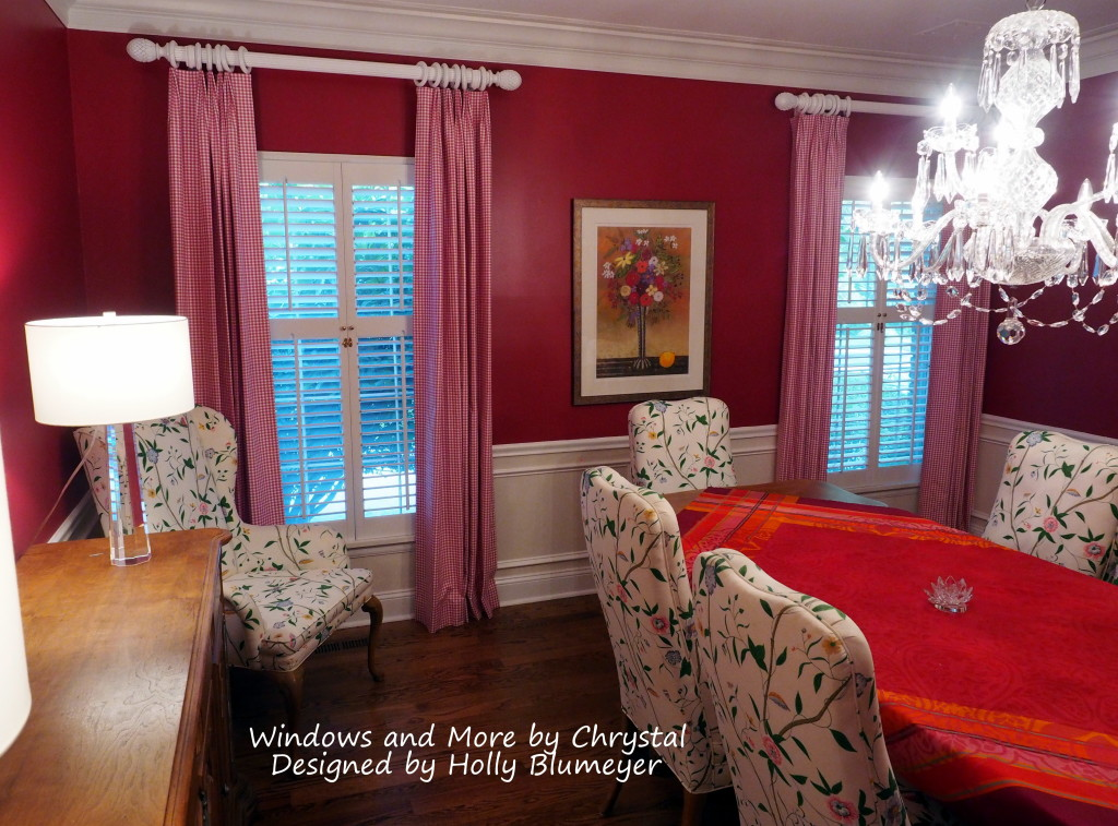 Dining Room Drapes in pink check.