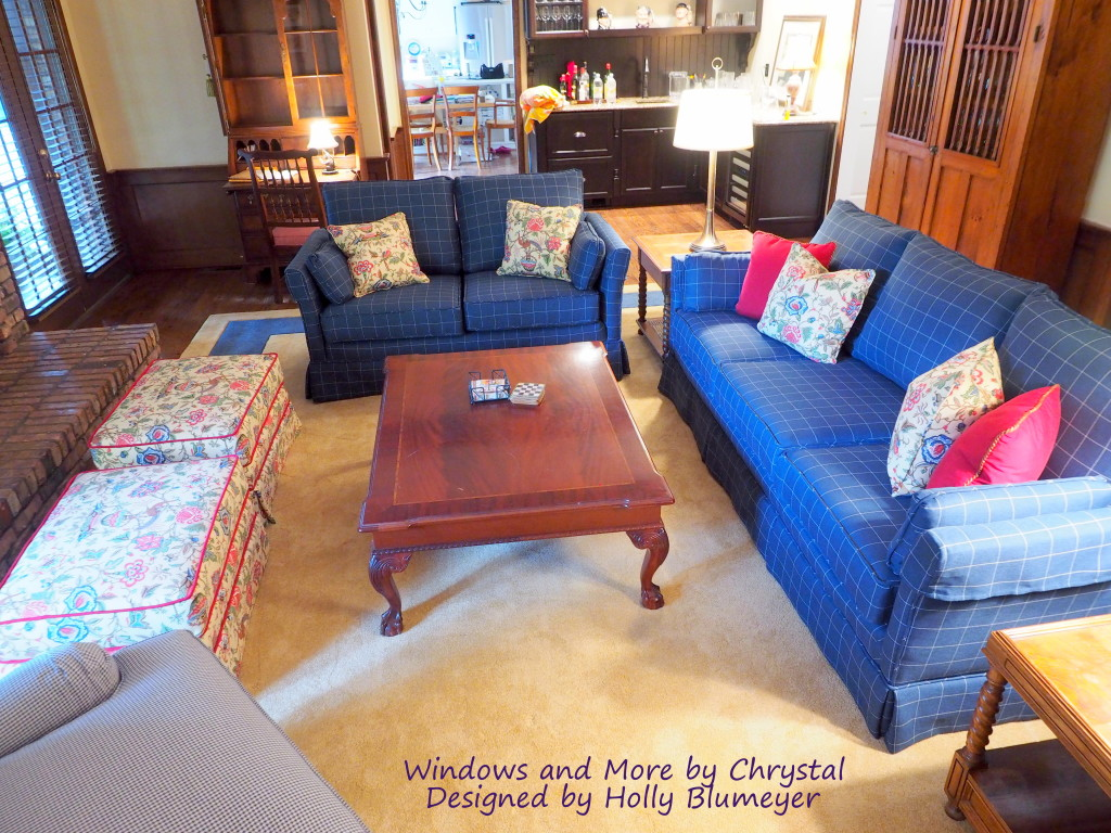 Family Room with new upholstery - Blue and White plaid sofa and loveseat, and Floral ottomans.