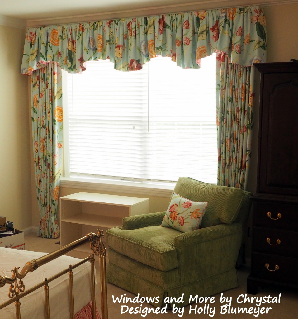 Master Bedroom - Drapes and Gathered Scalloped Valance, and Shams in Large Floral, Bedskirt and Pillow in Pink Check, and Green Corduroy Chair.