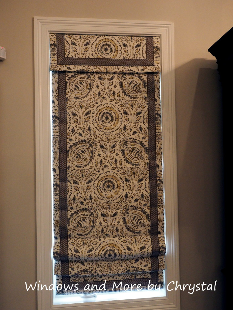 Cordless Roman Shade with Banding, coordinating valance. Blackout and interlined.
